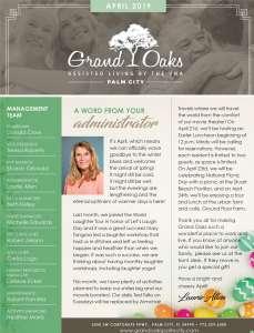 Grand Oaks Palm City Newsletter April 2019